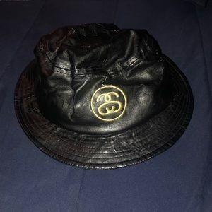 Stussy Black Faux Leather Bucket Hat